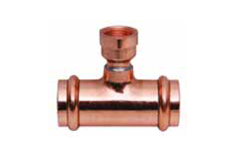 Copper Reducing Tee, P X P X FPT – SMALL